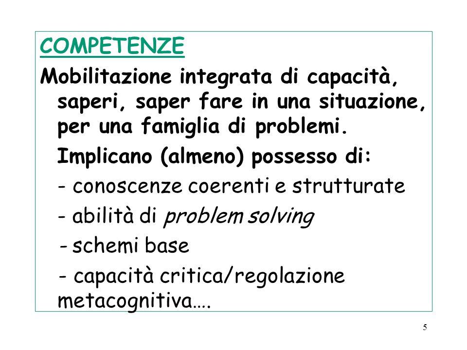 COMPETENZE Mobilitazione integrata di capacità, saperi, saper fare in una situazione, per una famiglia di problemi.