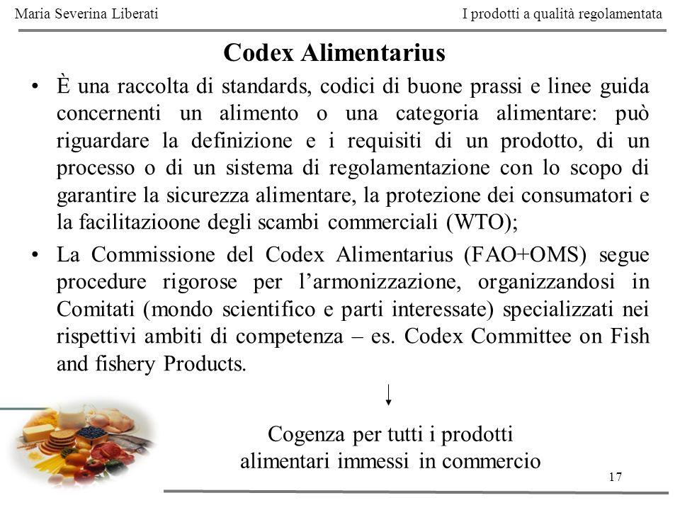 Cogenza per tutti i prodotti alimentari immessi in commercio