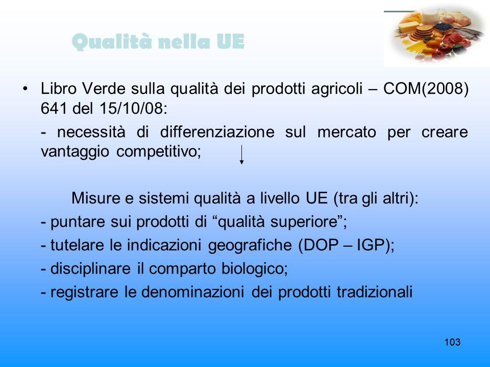 Misure e sistemi qualità a livello UE (tra gli altri):