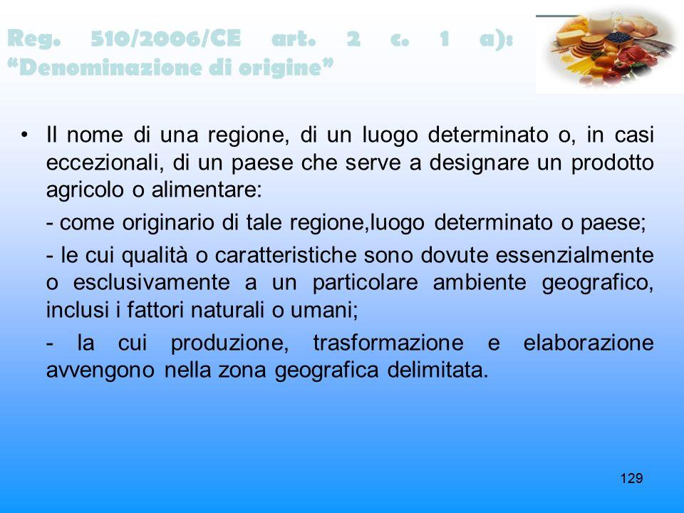 Reg. 510/2006/CE art. 2 c. 1 a): Denominazione di origine