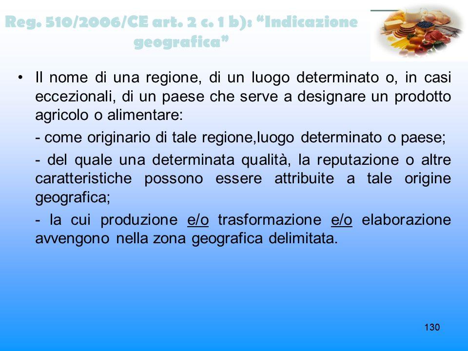 Reg. 510/2006/CE art. 2 c. 1 b): Indicazione geografica