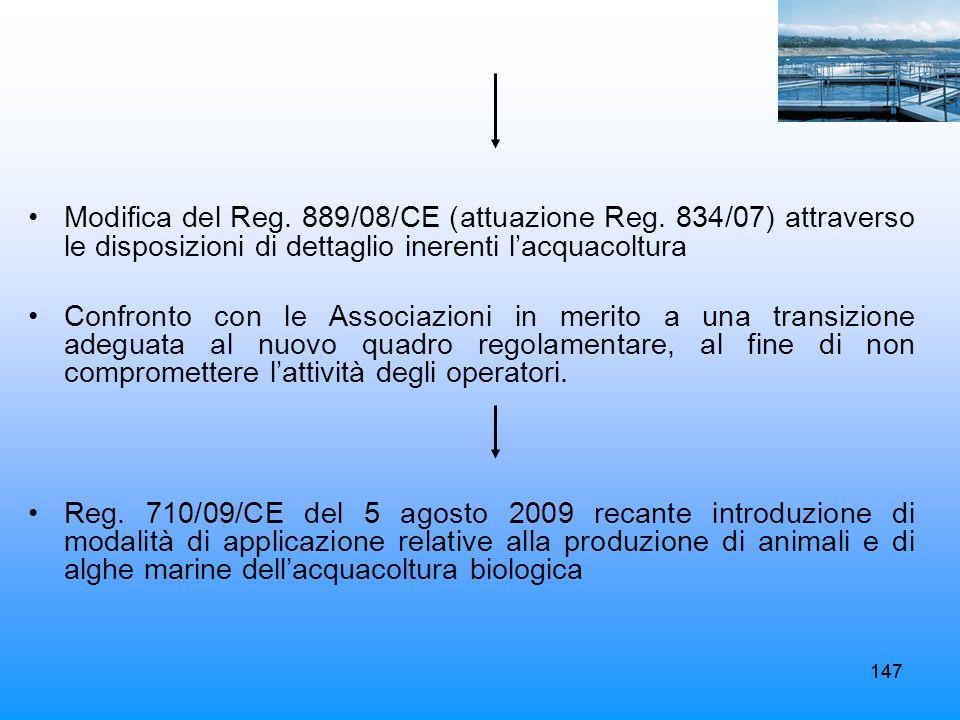 Modifica del Reg. 889/08/CE (attuazione Reg