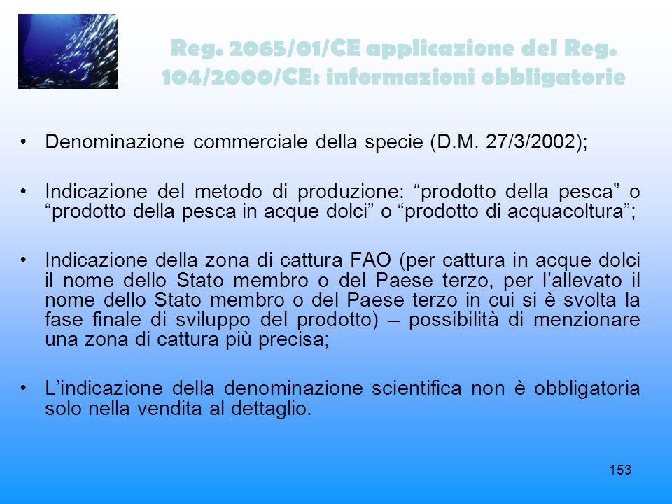 Reg. 2065/01/CE applicazione del Reg
