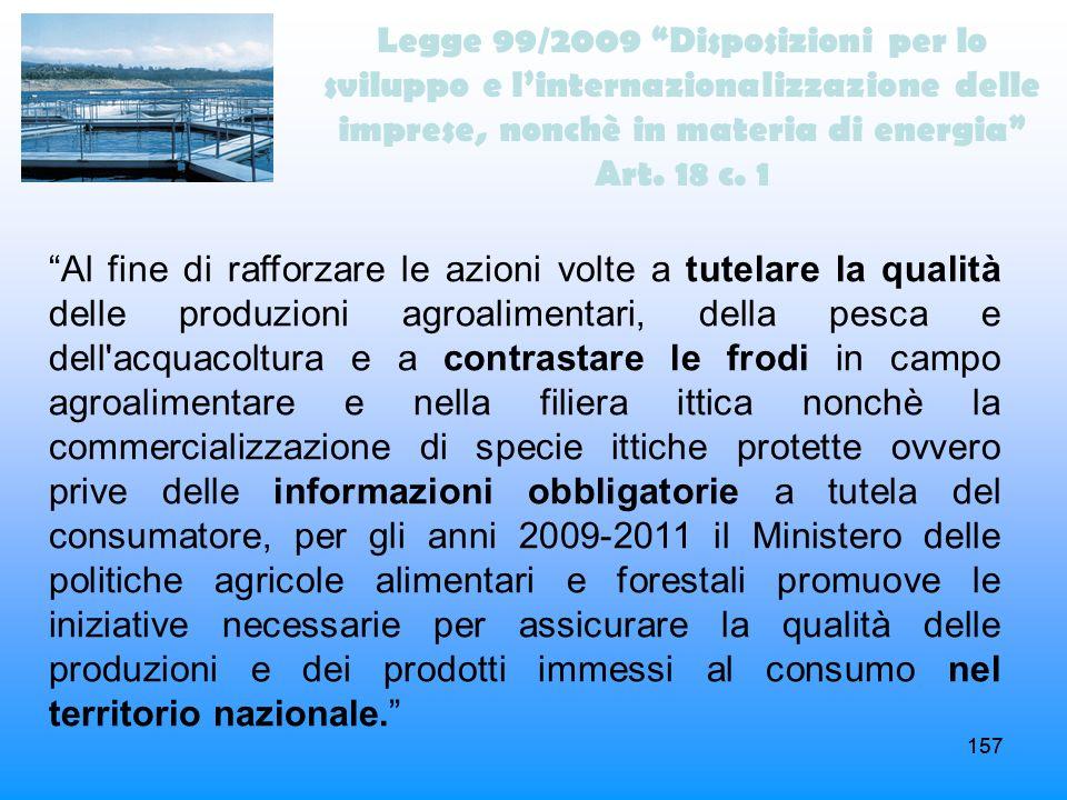 Legge 99/2009 Disposizioni per lo sviluppo e l'internazionalizzazione delle imprese, nonchè in materia di energia