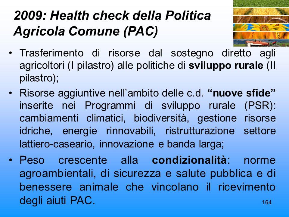 2009: Health check della Politica Agricola Comune (PAC)