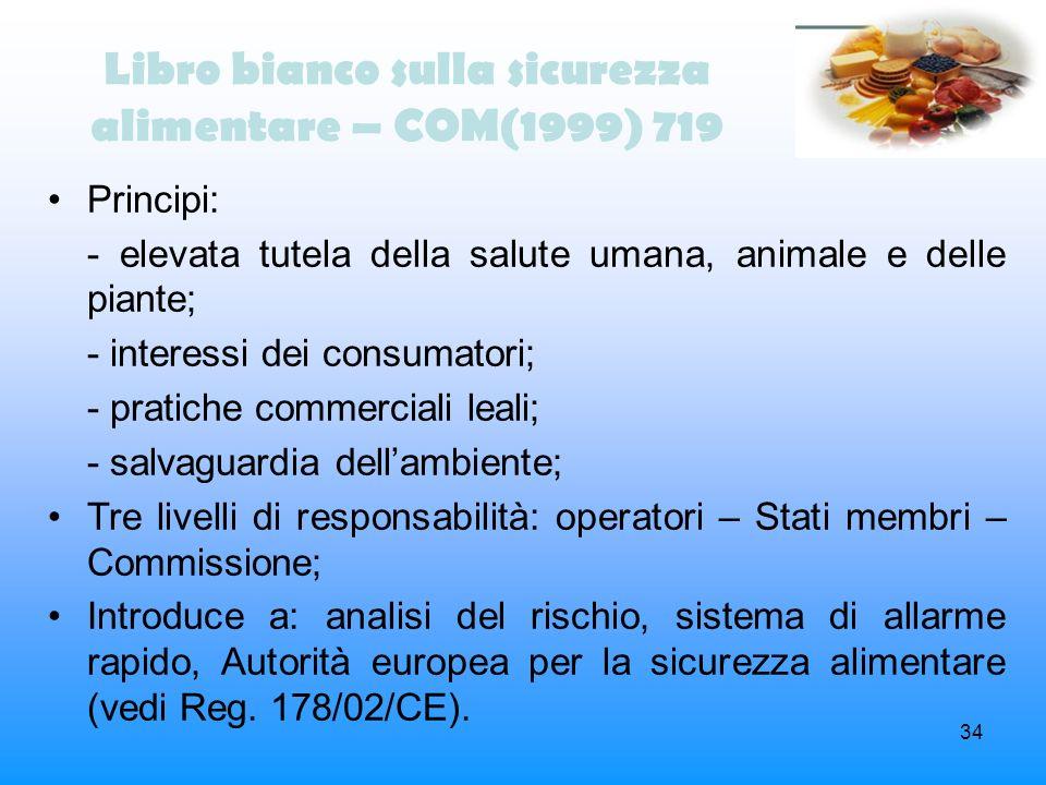 Libro bianco sulla sicurezza alimentare – COM(1999) 719