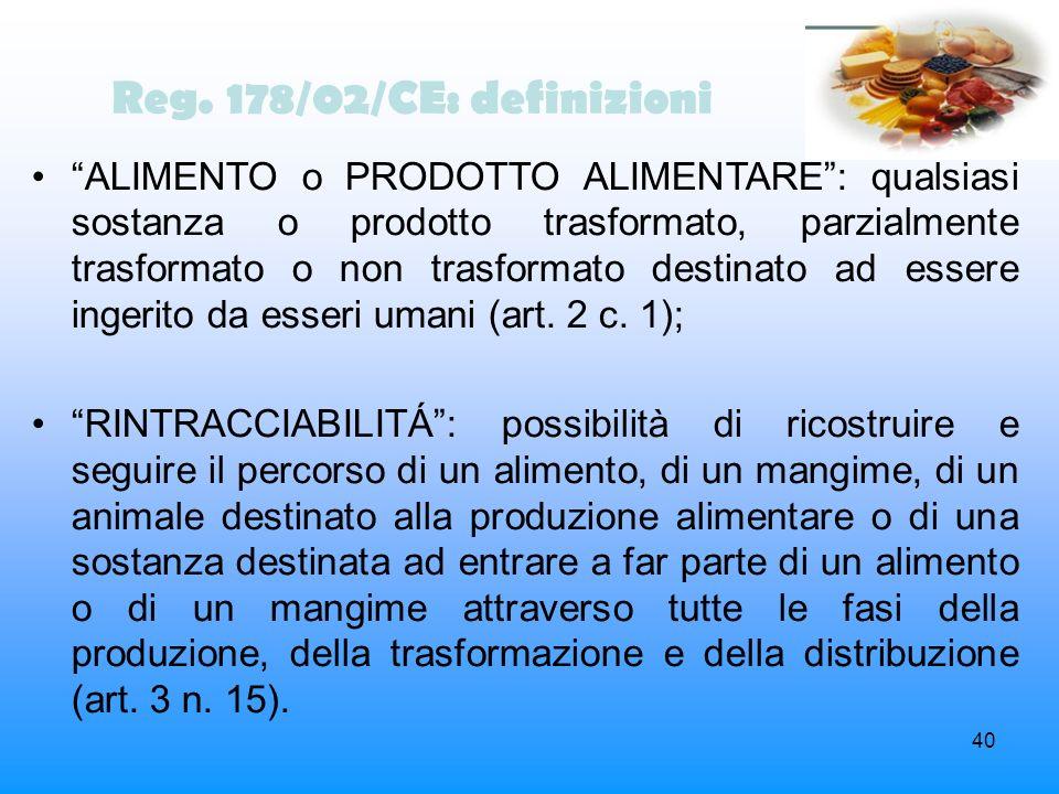 Reg. 178/02/CE: definizioni