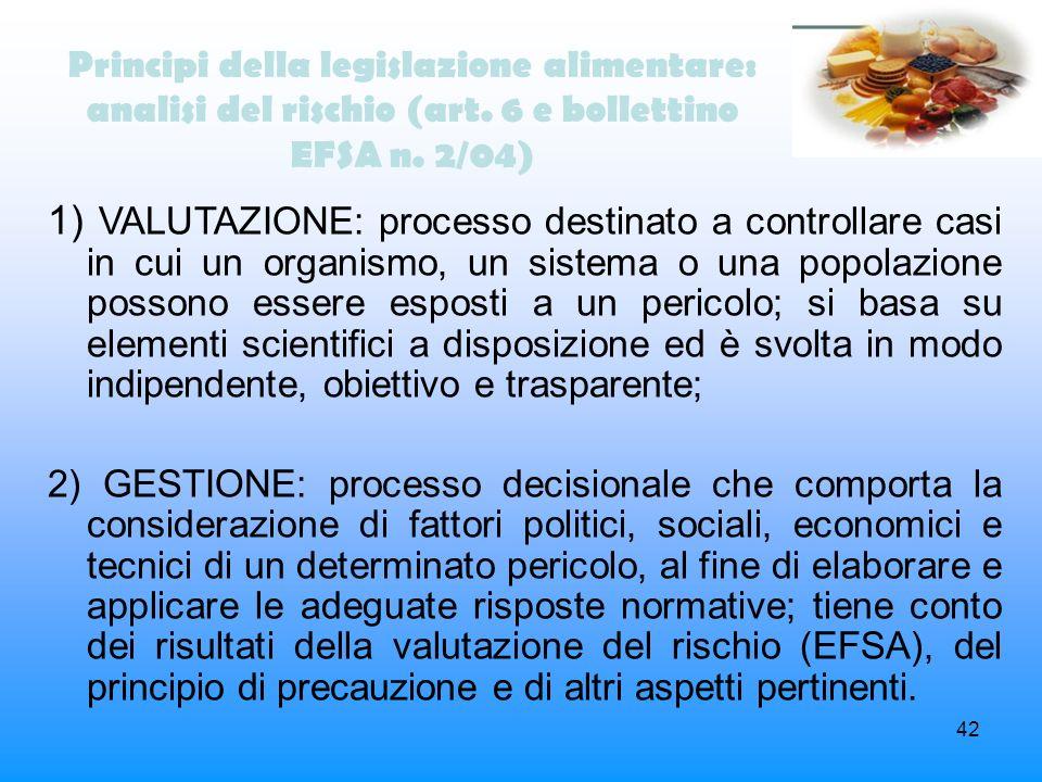 Principi della legislazione alimentare: analisi del rischio (art