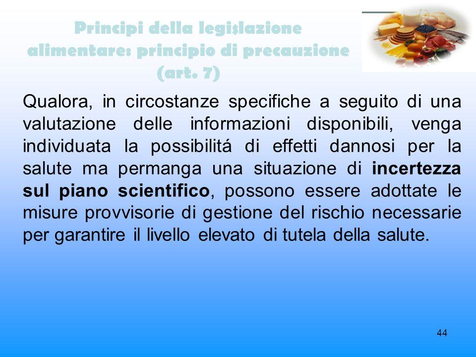 Principi della legislazione alimentare: principio di precauzione (art