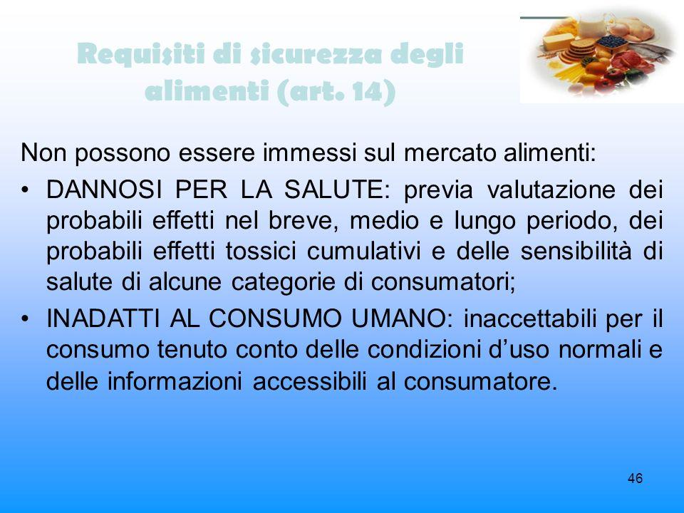 Requisiti di sicurezza degli alimenti (art. 14)