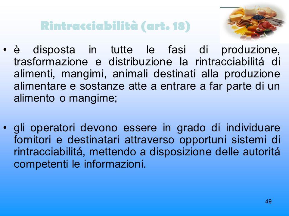 Rintracciabilità (art. 18)