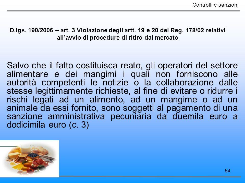 Controlli e sanzioni D.lgs. 190/2006 – art. 3 Violazione degli artt. 19 e 20 del Reg. 178/02 relativi all'avvio di procedure di ritiro dal mercato.