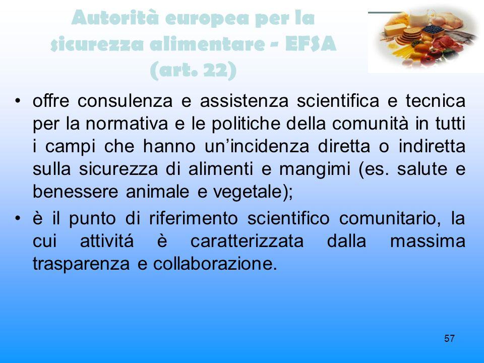Autorità europea per la sicurezza alimentare - EFSA (art. 22)