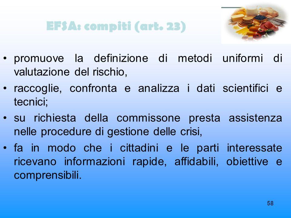 EFSA: compiti (art. 23) promuove la definizione di metodi uniformi di valutazione del rischio,