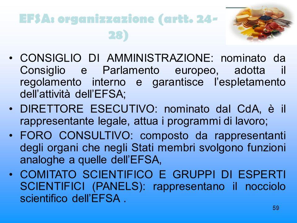 EFSA: organizzazione (artt. 24-28)