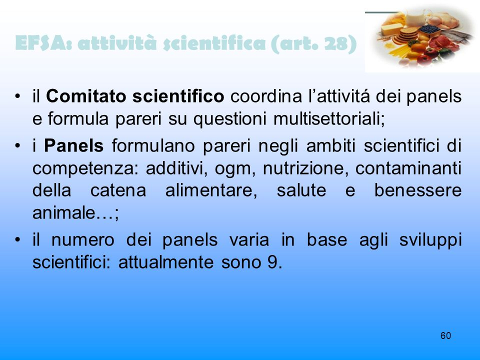 EFSA: attività scientifica (art. 28)