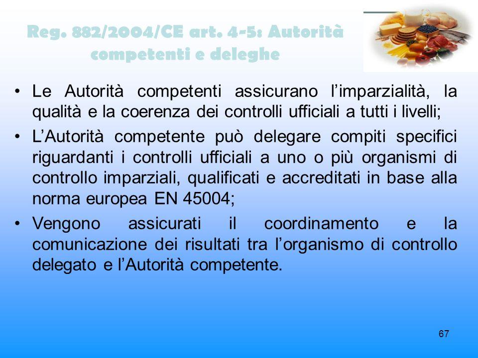 Reg. 882/2004/CE art. 4-5: Autorità competenti e deleghe