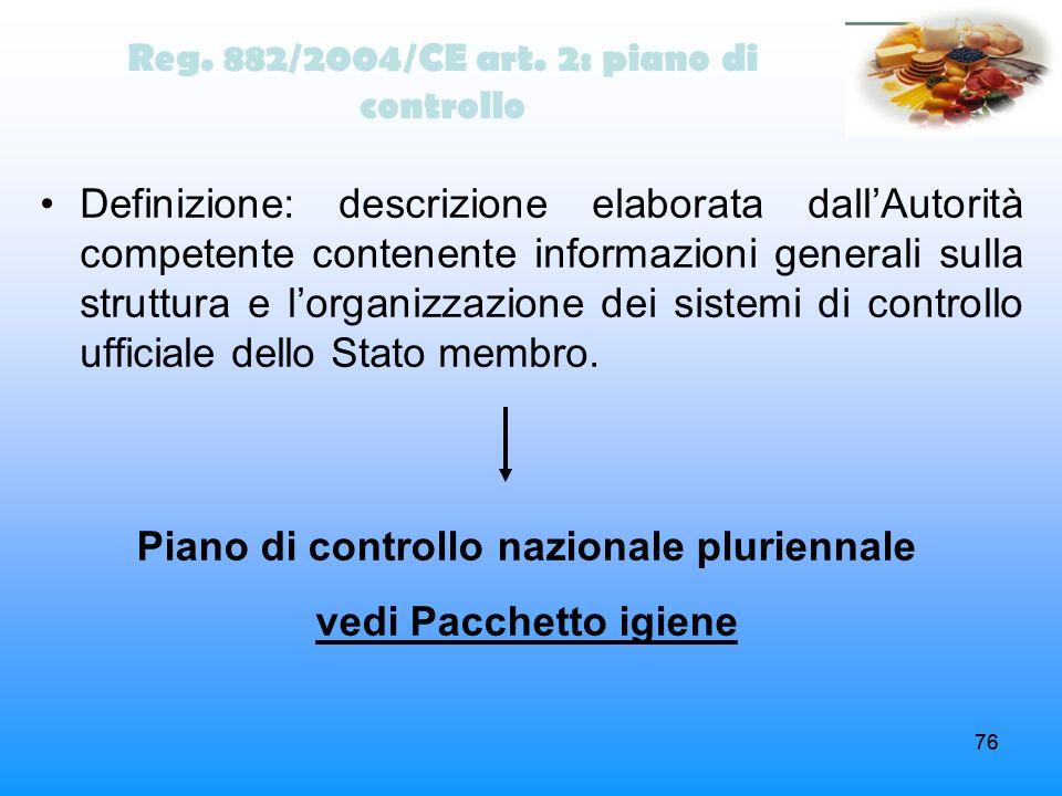 Piano di controllo nazionale pluriennale vedi Pacchetto igiene