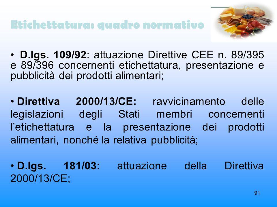 Etichettatura: quadro normativo