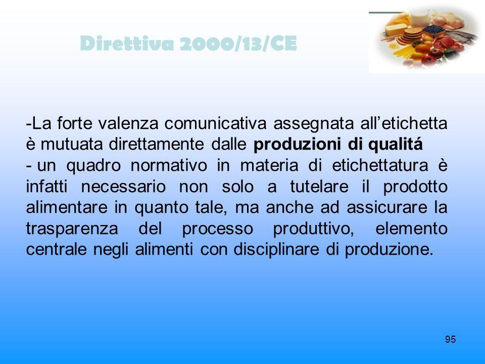 Direttiva 2000/13/CE La forte valenza comunicativa assegnata all'etichetta è mutuata direttamente dalle produzioni di qualitá.