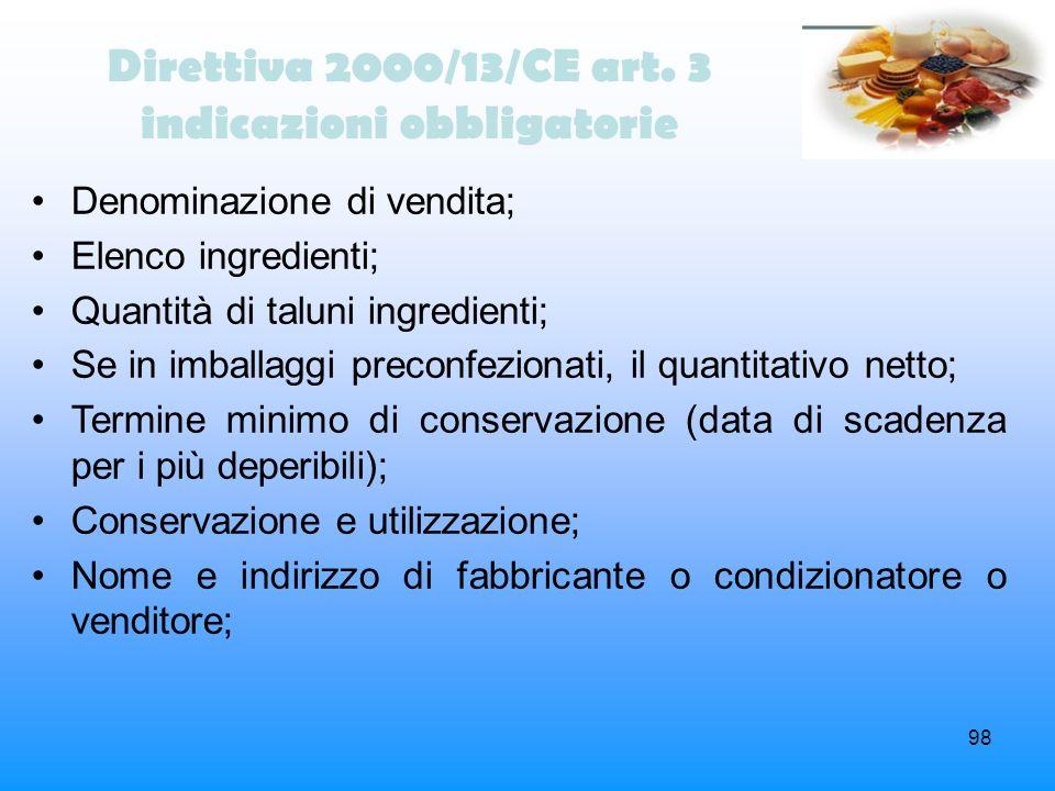 Direttiva 2000/13/CE art. 3 indicazioni obbligatorie