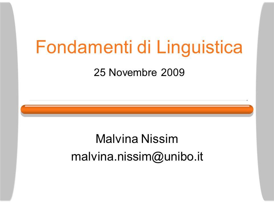Fondamenti di Linguistica 25 Novembre 2009