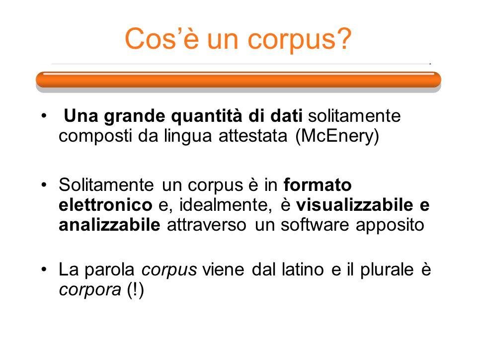 Cos'è un corpus Una grande quantità di dati solitamente composti da lingua attestata (McEnery)