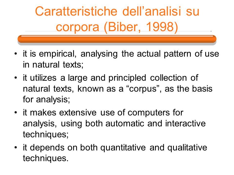 Caratteristiche dell'analisi su corpora (Biber, 1998)