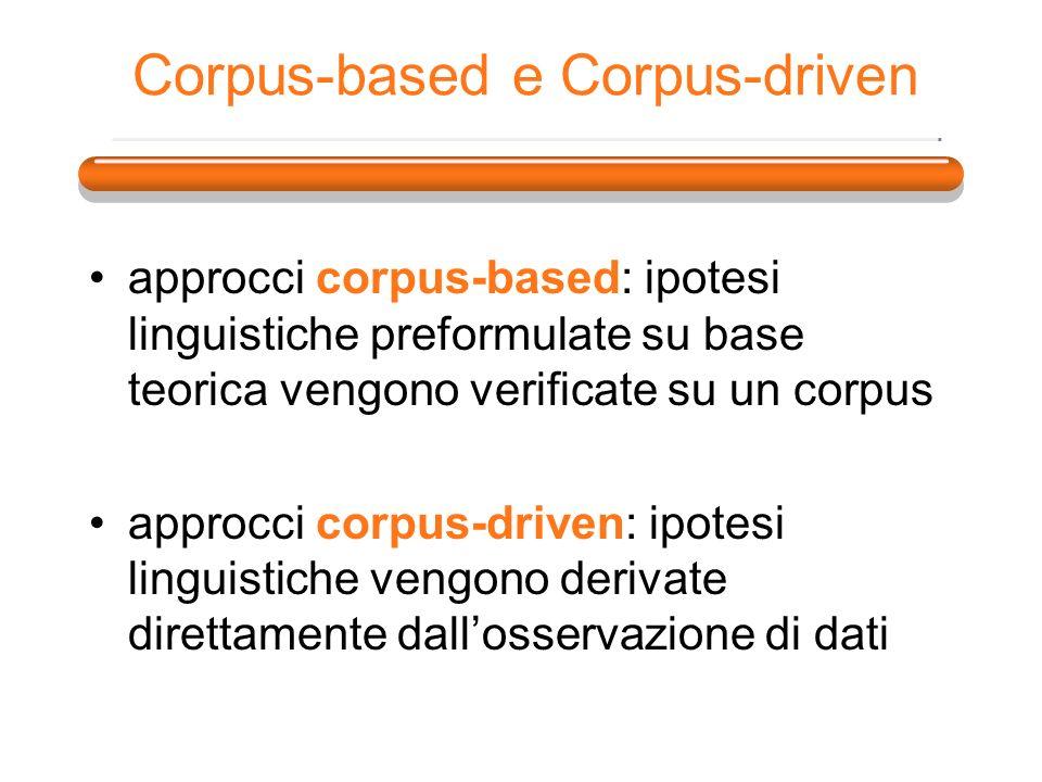 Corpus-based e Corpus-driven