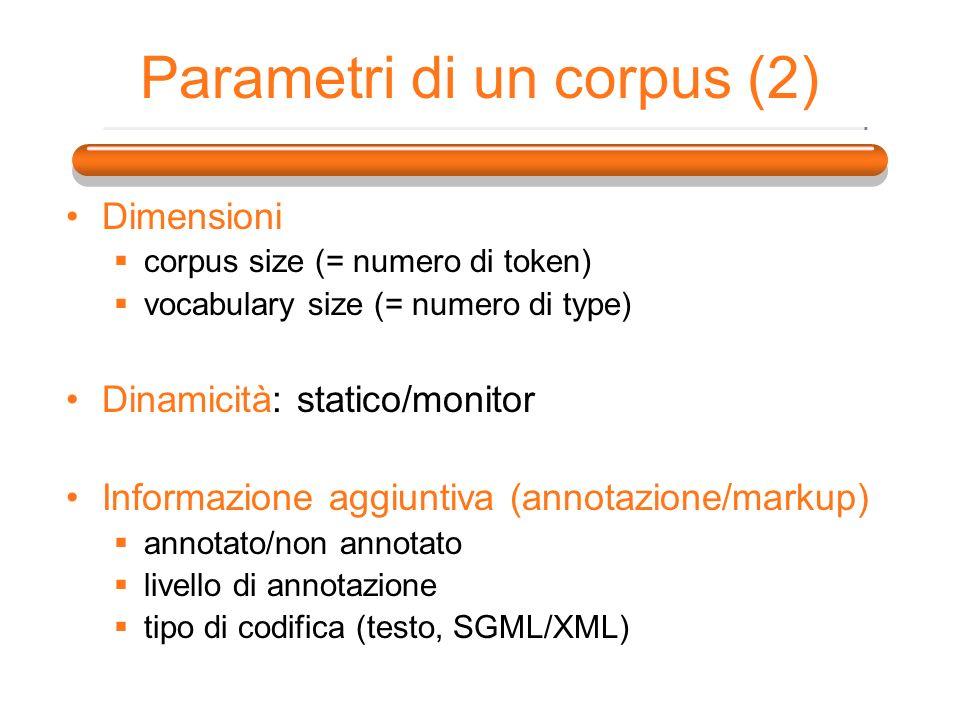 Parametri di un corpus (2)