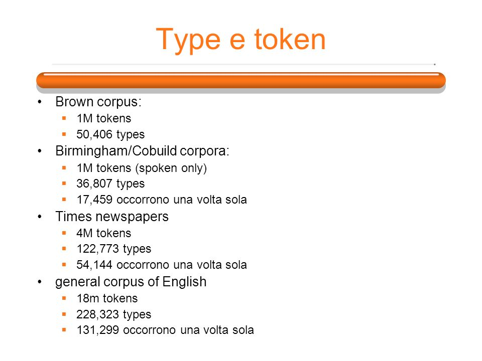 Type e token Brown corpus: Birmingham/Cobuild corpora: