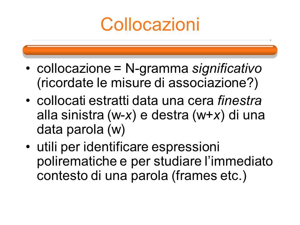Collocazioni collocazione = N-gramma significativo (ricordate le misure di associazione )
