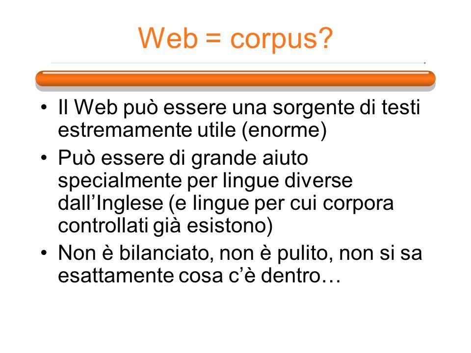 Web = corpus Il Web può essere una sorgente di testi estremamente utile (enorme)