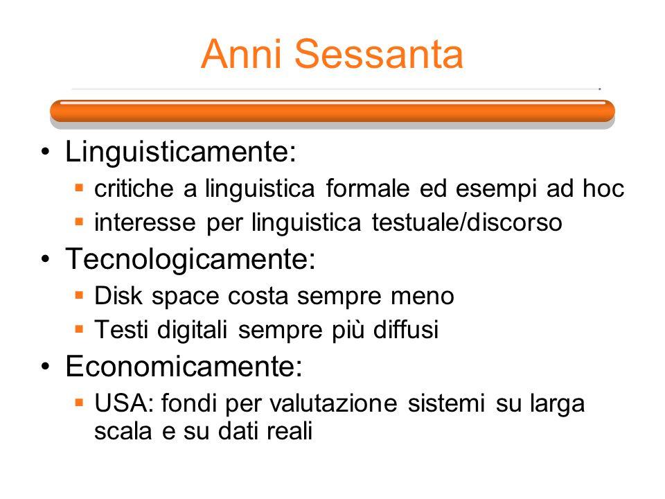 Anni Sessanta Linguisticamente: Tecnologicamente: Economicamente: