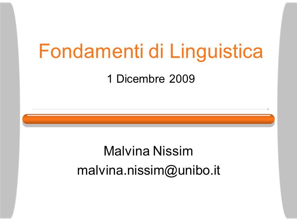 Fondamenti di Linguistica 1 Dicembre 2009