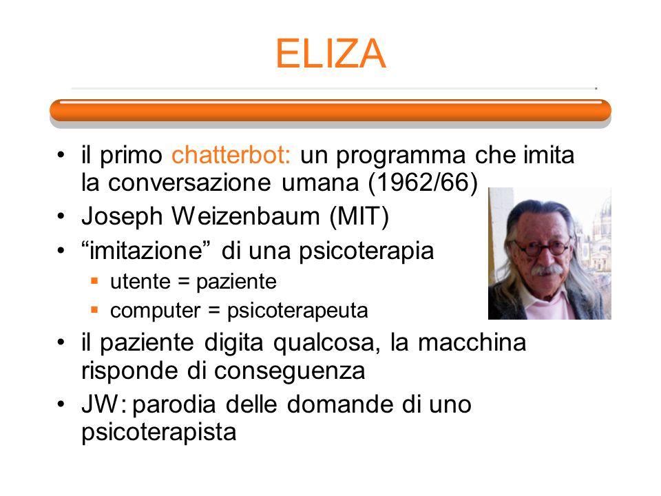 ELIZA il primo chatterbot: un programma che imita la conversazione umana (1962/66) Joseph Weizenbaum (MIT)
