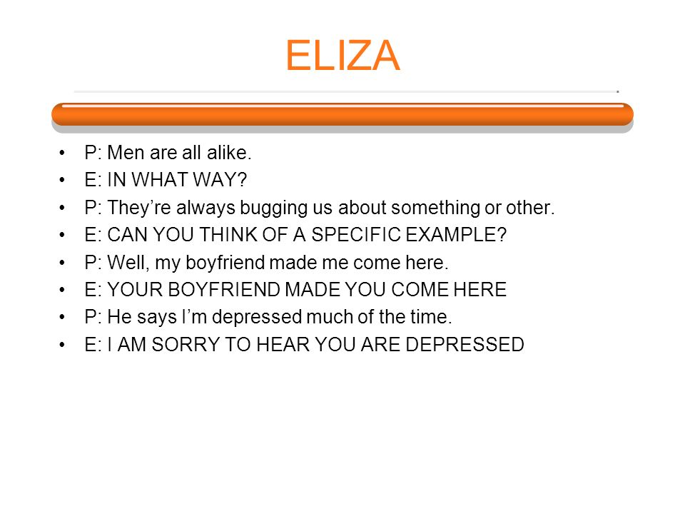 ELIZA P: Men are all alike. E: IN WHAT WAY