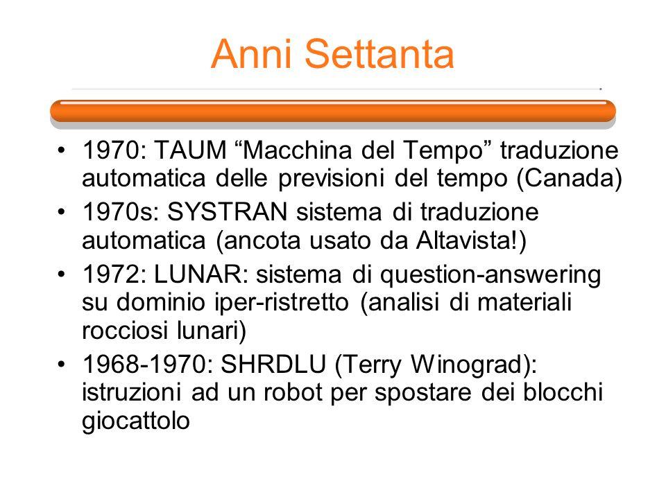 Anni Settanta 1970: TAUM Macchina del Tempo traduzione automatica delle previsioni del tempo (Canada)