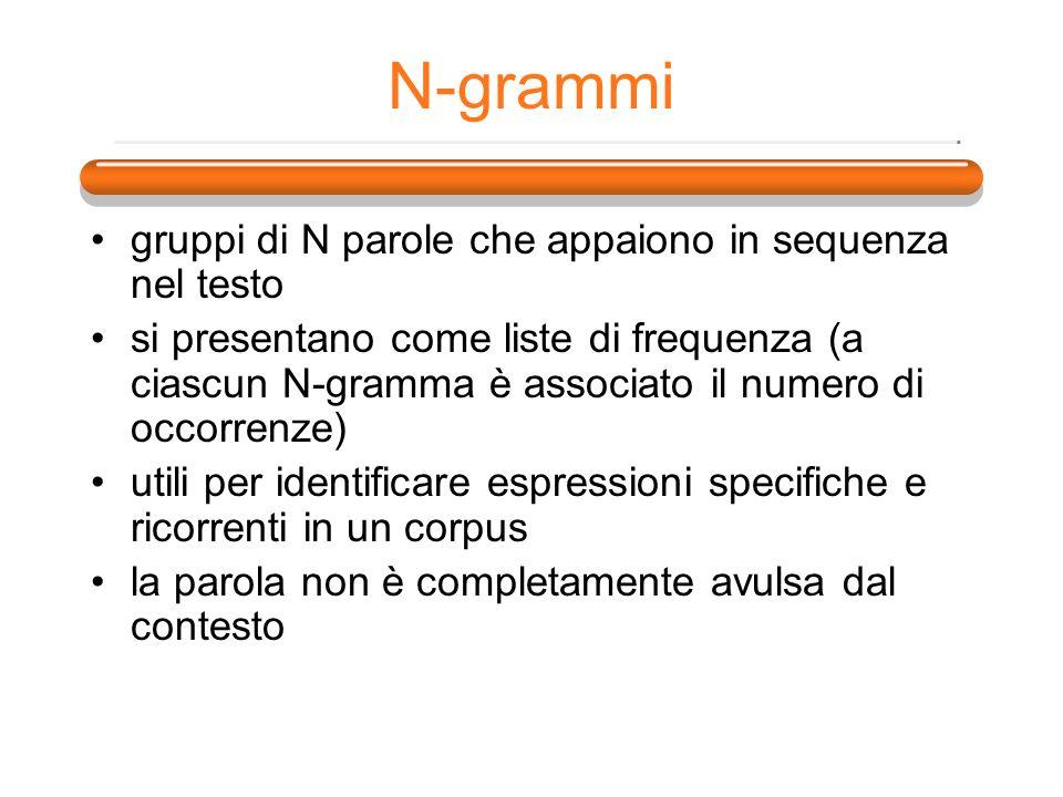 N-grammi gruppi di N parole che appaiono in sequenza nel testo