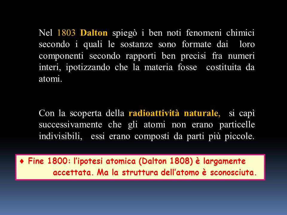 Nel 1803 Dalton spiegò i ben noti fenomeni chimici secondo i quali le sostanze sono formate dai loro componenti secondo rapporti ben precisi fra numeri interi, ipotizzando che la materia fosse costituita da atomi.