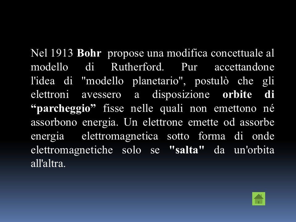 Nel 1913 Bohr propose una modifica concettuale al modello di Rutherford.