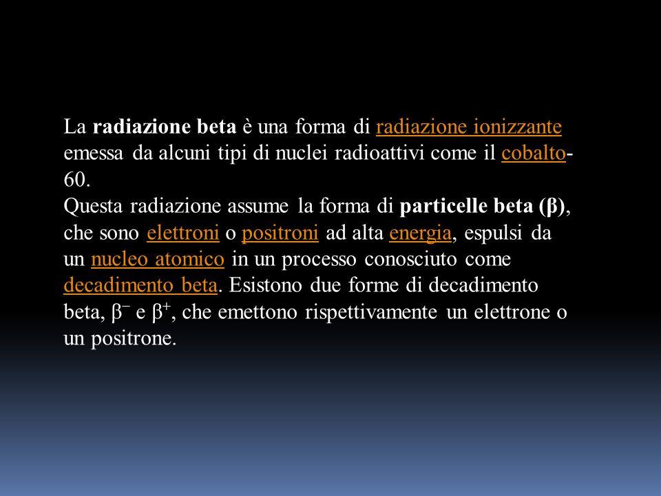 La radiazione beta è una forma di radiazione ionizzante emessa da alcuni tipi di nuclei radioattivi come il cobalto-60.