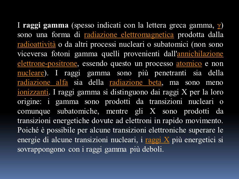 I raggi gamma (spesso indicati con la lettera greca gamma, γ) sono una forma di radiazione elettromagnetica prodotta dalla radioattività o da altri processi nucleari o subatomici (non sono viceversa fotoni gamma quelli provenienti dall annichilazione elettrone-positrone, essendo questo un processo atomico e non nucleare).