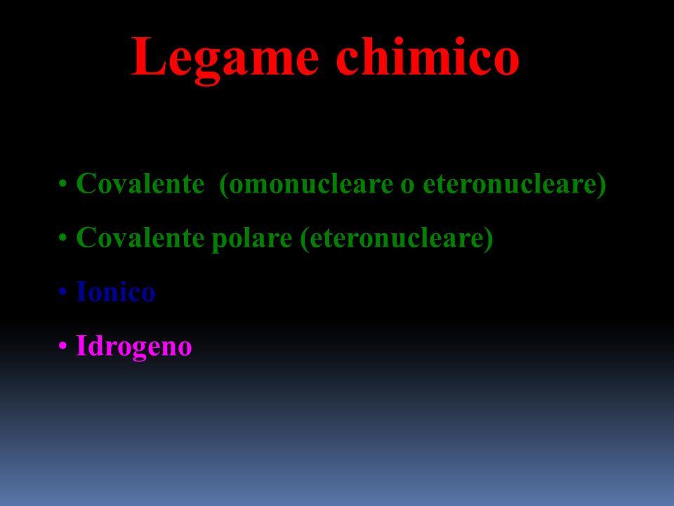 Legame chimico Covalente (omonucleare o eteronucleare)