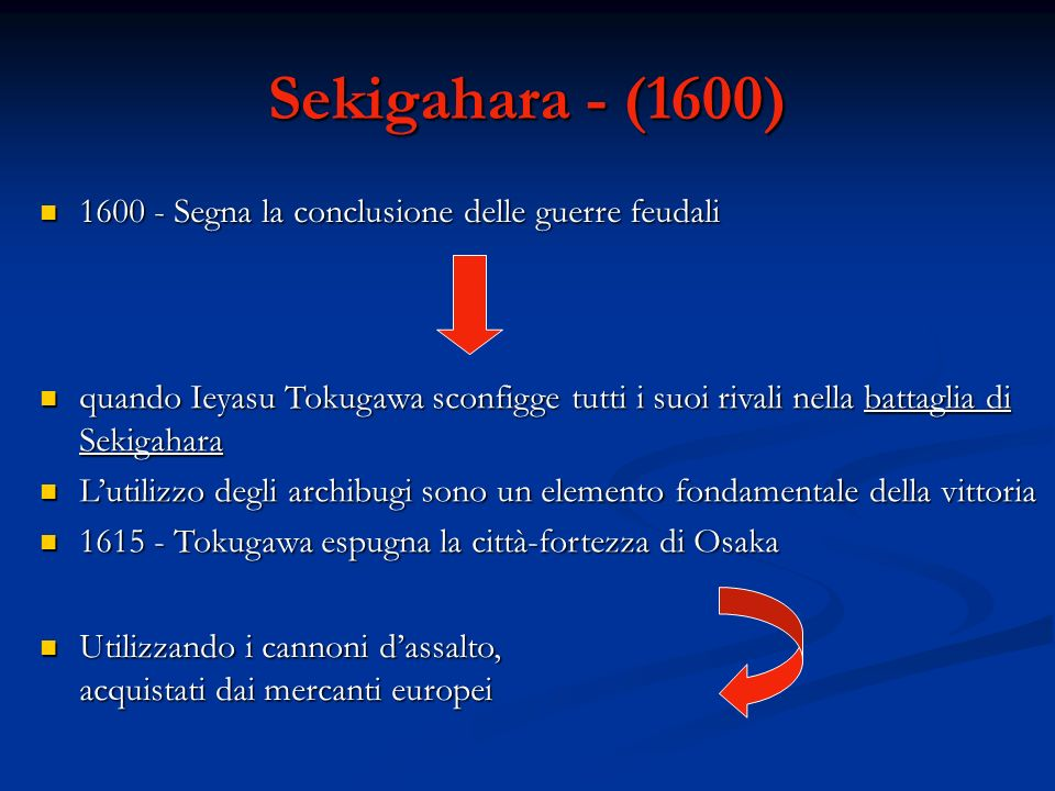 Sekigahara - (1600) 1600 - Segna la conclusione delle guerre feudali