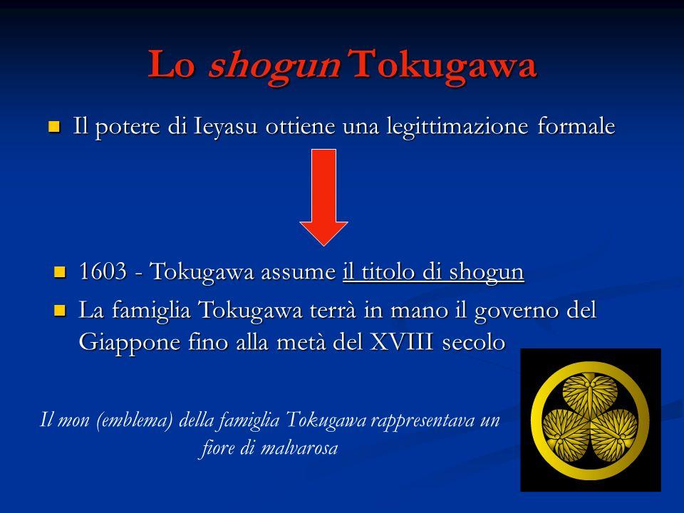 Lo shogun Tokugawa Il potere di Ieyasu ottiene una legittimazione formale. 1603 - Tokugawa assume il titolo di shogun.