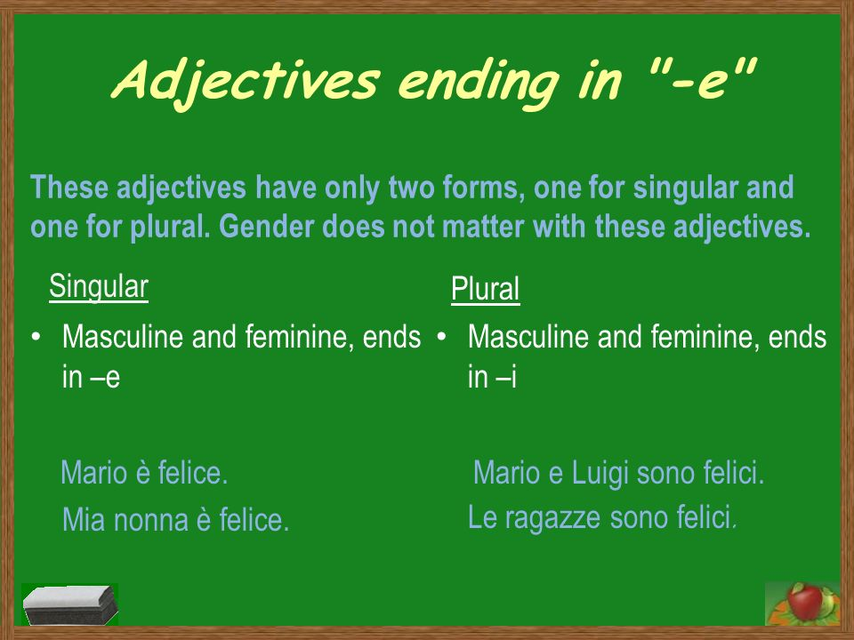 Adjectives ending in -e