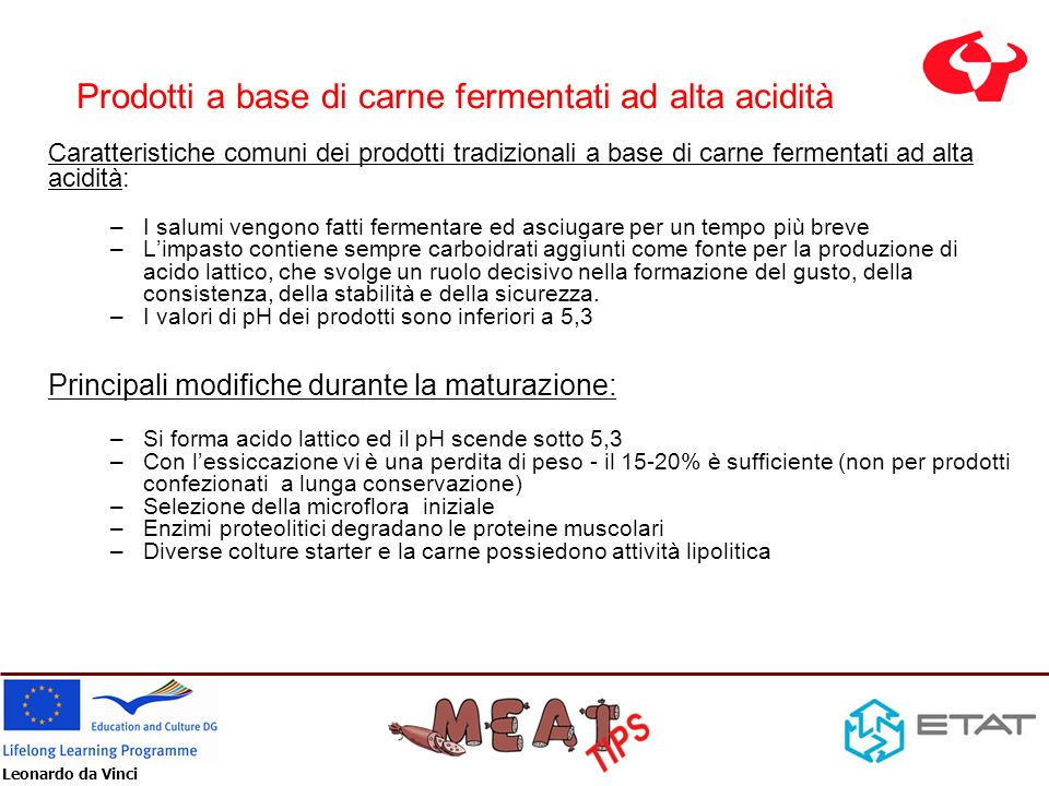 Prodotti a base di carne fermentati ad alta acidità