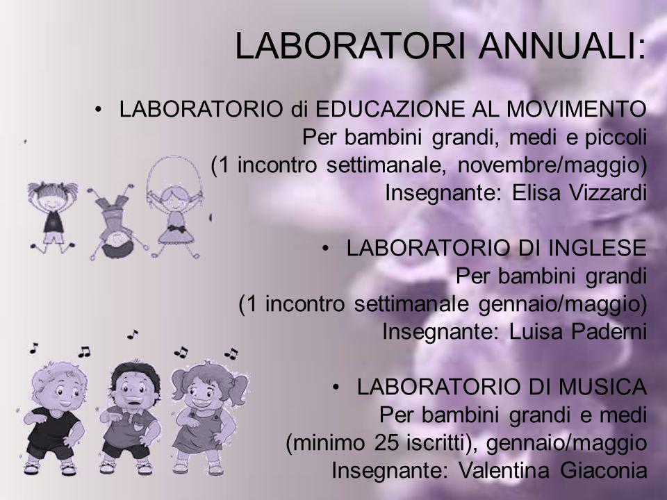 LABORATORIO di EDUCAZIONE AL MOVIMENTO