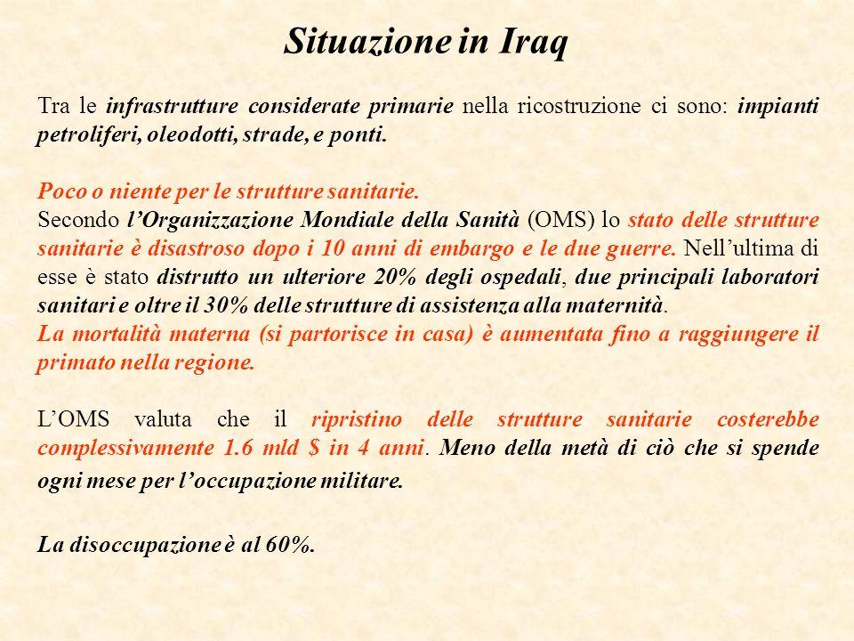 Situazione in Iraq Tra le infrastrutture considerate primarie nella ricostruzione ci sono: impianti petroliferi, oleodotti, strade, e ponti.